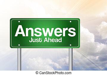 réponses, juste, devant, vert, panneaux signalisations, concept affaires