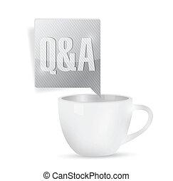 réponses, questions, sur, coffee., illustration