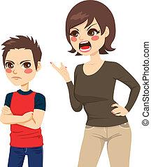 réprimande, mère, fils