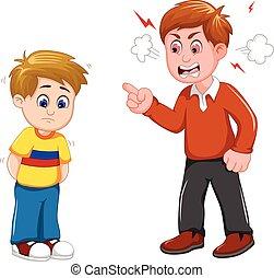 réprimande, sien, père, dessin animé, fils