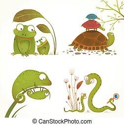 réptil, animais, pai, cobrança, bebê, caricatura