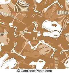 réptil, pré-histórico, esqueleto, cranio, dinossauro, dino, ornament., pattern., seamless, tyrannosaurus, experiência., ossos, texture.