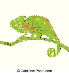 réptil, silueta, cor chameleon, padrão, espiral, lagarto, animal
