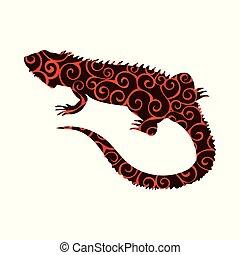 réptil, silueta, cor, padrão, espiral, lagarto, animal, iguana