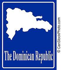 république, dominicain, carte, silhouette