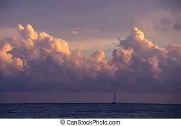 république, dominicain, coucher soleil, nuages, -, &, ...