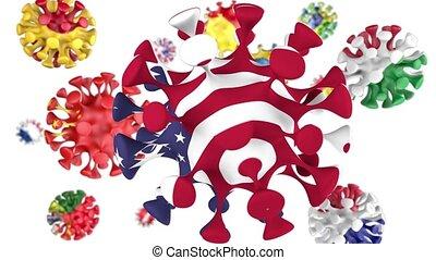 république, grand, drapeaux, grande-bretagne, animation, ...