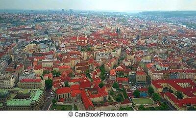 république tchèque, vue aérienne, prague, altitude, toits, élevé