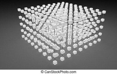 réseau, 3d, cubes