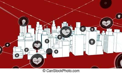 réseau, animation, coeur, emplacement, icônes, battement,...
