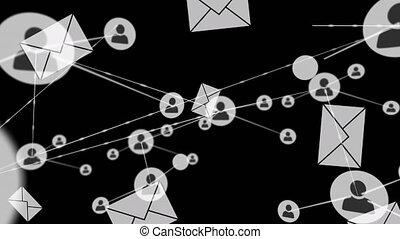 réseau, animation, gens, icônes, connexions