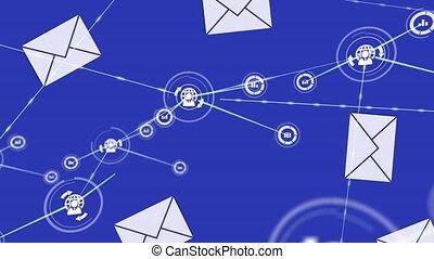 réseau, animation, globe, icônes, statistiques, connexions