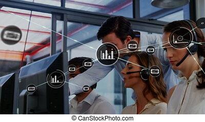 réseau, animation, icônes, statistiques, connexions