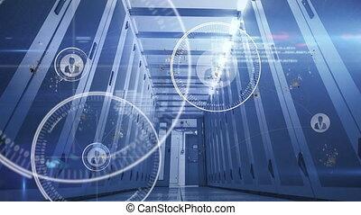 réseau, animation, processeur, connexions ordinateur, fond
