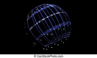réseau, antimation, espace, cyber, 3d, sphère