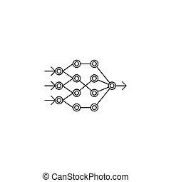 réseau, artificiel, style, icône, neural, contour