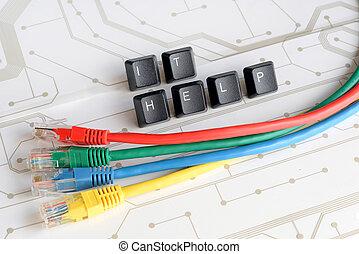 réseau, assistance, fond, il, planche, circuit, bureau, câbles, aide