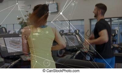 réseau, athlètes, animation, courant, connexions, roues