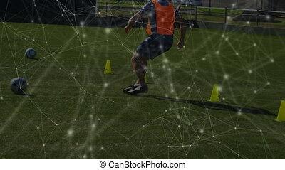 réseau, bas, équipe, entraînement football, complexe, ...