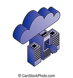 réseau, base données, calculer, cyber, serveur, sécurité, nuage