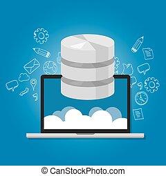 réseau, base données, symbole, multimédia, stockage, données, ordinateur portable, nuage, icône