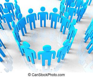 réseau, bavarder, indique, communications globales, groupes