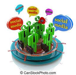 réseau, business, média, parole, social, bulles