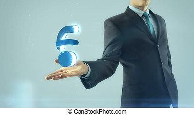 réseau, business, symbole, wifi, main, a, homme