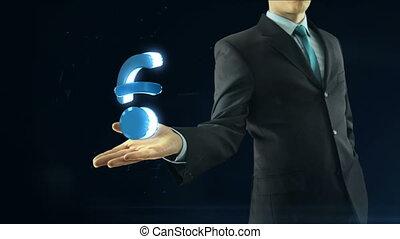 réseau, business, symbole, wifi, main, noir, a, homme