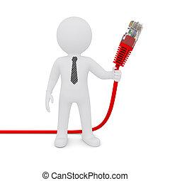 réseau, câble, tenue, blanc rouge, homme