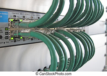 réseau, câble, traitement, informatique, vert, données, étagère, centre