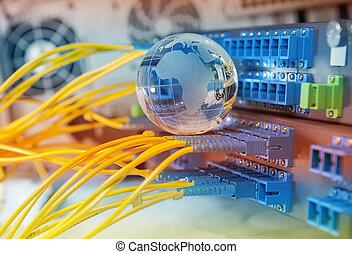réseau, câbles, données, globe, serveurs, technologie, centre