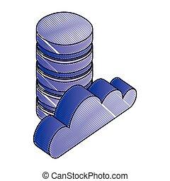 réseau, calculer, base données, stockage, numérique, nuage