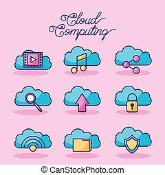 réseau, calculer, connexion, technologie numérique, nuage