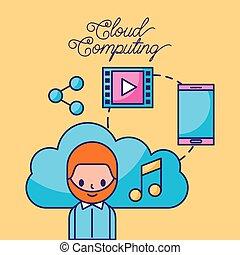 réseau, calculer, connexion, technologie numérique, nuage, homme