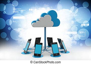 réseau, calculer, couleur, téléphones, nuage, fond, intelligent