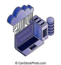 réseau, calculer, ordinateur portable, base données, serveur, connexion, nuage