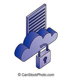 réseau, calculer, stockage, sécurité, données, nuage