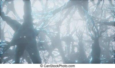réseau, cerveau, voyage, cellule, neurone, intérieur, par