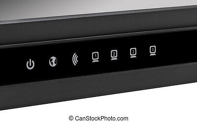 réseau, -, collection, sans fil, noir, internet, routeur, wi-fi, électronique