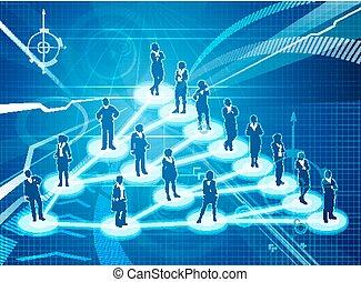 réseau, commercialisation, business, viral, concept