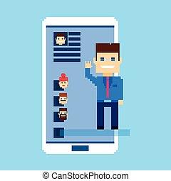 réseau, communication affaires, téléphone portable, social, intelligent, homme