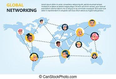 réseau, communication, concept., global, idée, ligne