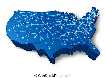réseau, communication, etats-unis, carte, 3d