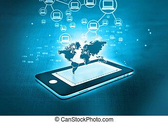 réseau, communication, global, téléphone, intelligent
