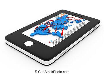 réseau, communication, moderne, téléphone, technologie, intelligent