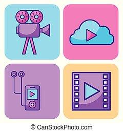 réseau, communication, multimédia, icônes, ensemble, technologie