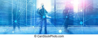 réseau, concept., arrière-plan., blockchain, communication, financier, gratte-ciel, technologie, brouillé