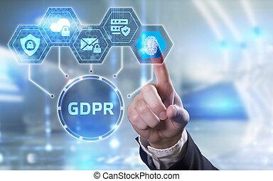 réseau, concept., général, protection, gdpr, affaires internet, regulation., technologie, données