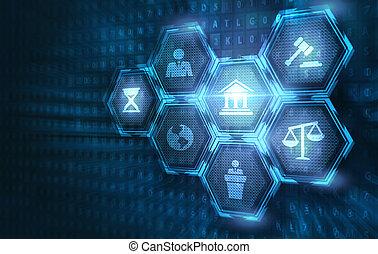 réseau, concept., legal., avocat, technologie, business, internet, droit & loi, main-d'œuvre